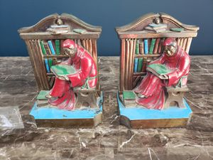 Vintage 1920 Metal Aronson Bookends Scholar Monk Library Book Shelf USA for Sale in HILLS DALES, KY