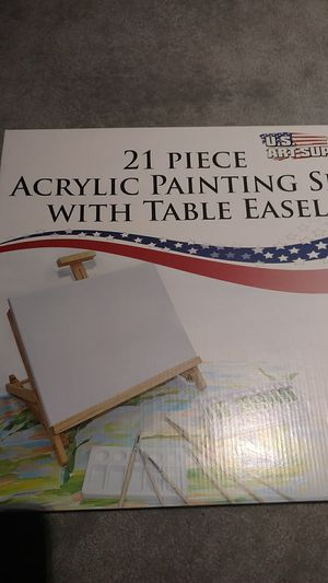 21 Piece Acrylic Painting Set with Table Easel v for Sale in Rockville, MD