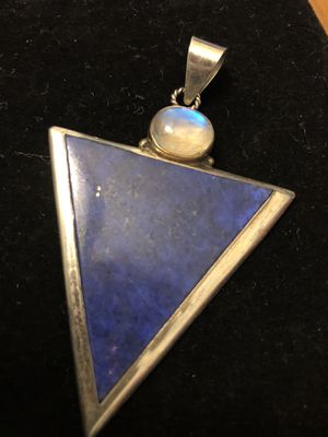 Lapis lazuli triangle cut with radiant moon stone pendant sterling for Sale in Littleton, CO