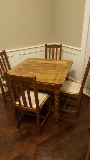Antique wood table four chairs for Sale in Houston, TX