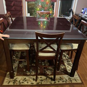 """Beautiful 54"""" Square High Top Dark Wood Dining Room Table for Sale in Redondo Beach, CA"""