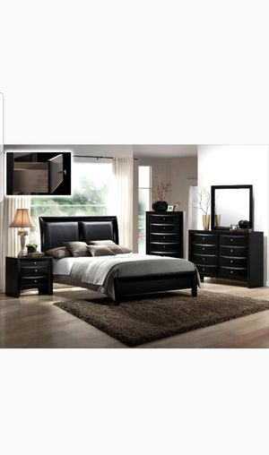 BRAND NEW QUEEN BEDROOM SET INCLUDES BED FRAME DRESSER MIRROR AND NIGHTSTAND ADD MATTRESS ALL NEW FURNITURE BY USA MEXICO FURNITURE for Sale in Montclair, CA