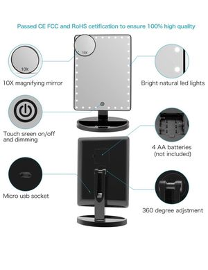 Large Lighted Vanity Makeup Mirror (X-Large Model), Funtouch Light Up Mirror with 35 LED Lights, Touch Screen and 10X Magnification Mirror, 360° Rota for Sale in Downey, CA