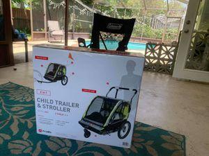 Shuttle bike child trailer stroller green 2 in 1 Brand new for Sale in Tampa, FL