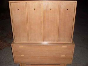 Mid Century Modern American of Martinsville Solid Wood Highboy Chest of Drawers retro vintage west elm pottery barn bedroom set for Sale in Pittsburgh, PA