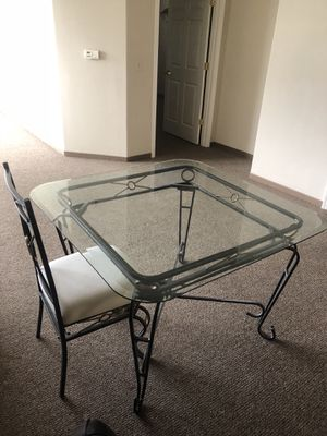 Wrought iron & glass full set Dining furniture plus coffee & side tables (more photos soon) —indoor or outdoor for Sale in Kirkland, WA