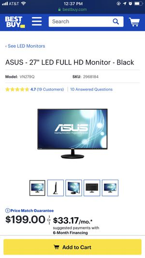 "27"" ASUS monitor for Sale in Falls Church, VA"