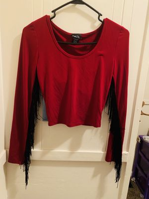 Women's scoop neck Lycra long sleeve shirt with fringes for Sale in Warren, OH