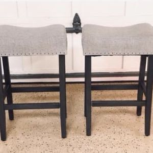 NEW Set of 2 Wayfair Gray Linen and Wood Stools (2 Total) for Sale in Rockville, MD