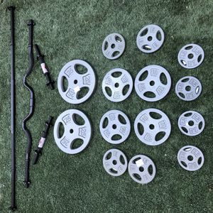 120lb Standard Weight Set with Curling,Straight and Dumbbell Bar- New! for Sale in Irvine, CA