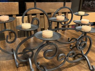 Partylite Fireplace Black Wrought Iron Pillar Candle Holder Centerpiece for Sale in Kent,  WA