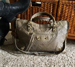 Balenciaga Taupe Cross Perforated Lambskin Leather Motorcycle City Bag for Sale in Addison, TX