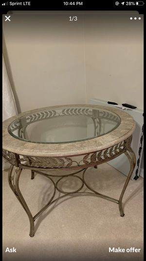 Glass table marble trim kitchen table for Sale in Alexandria, VA