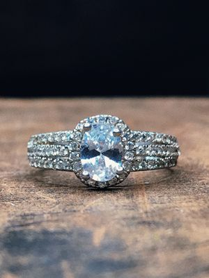 Diamond Halo Sterling Silver Engagement Wedding Ring for Sale in San Francisco, CA