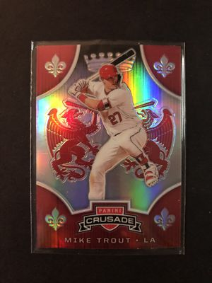 Mike Trout 2019 PANINI Baseball Card #8 'Crusade' PRISM Refractor. Buy 20 Cards, Get 20% OFF. Mike Trout LA ANGELS Baseball Trading Card. for Sale in Chicago, IL