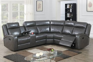 GRAY GEL LEATHERETTE SECTIONAL POWER MOTION RECLINER USB DRINK CONSOLE / SECCIONAL RECLINABLE SILLON GRIS GREY MUEBLES VENTA SALE for Sale in Downey,  CA