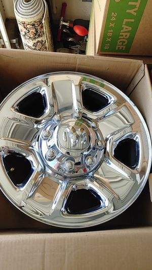 4 Dodge 18x8 rims. 8 lug as shown in photos.Includes center caps and lug nuts for Sale in Hemet, CA