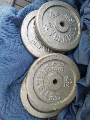 Curl Bar with Four 25lb Steel plates for Sale in Wheaton, IL