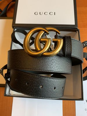 """New Authentic Gucci Black Leather Belt With Double G Gold Buckle (Now available 110cm 38-40"""" for pickup in NY & shipment worldwide) for Sale in Queens, NY"""