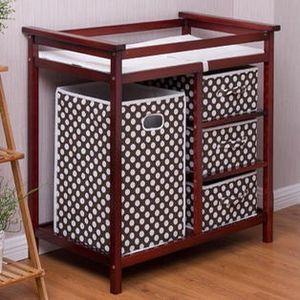 #350- Goplus Cherry Infant Baby Changing Table w/3 Basket Hamper Diaper Storage Nursery New for Sale in Huntington Park, CA