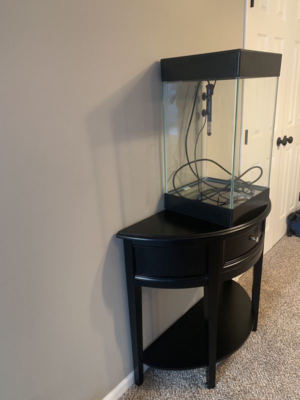 15 Gal. Fish Tank/ Black Half Moon Table