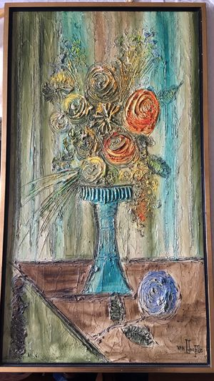 Heavily Textured Abstract Painting by Van Hooptle for Sale in San Mateo, CA