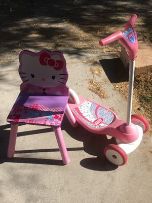 Radio flyer scooter and hello kitty chair both for 15 firm. I can deliver if a small fee for Sale in Las Vegas, NV