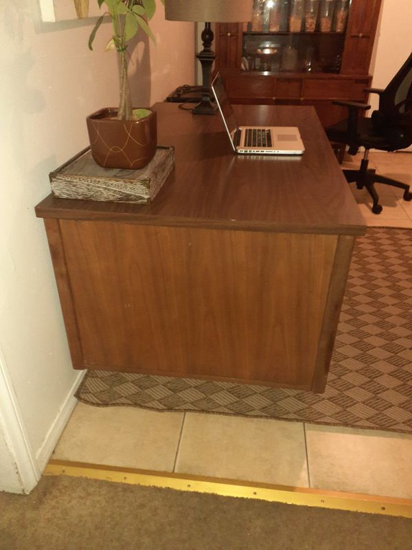 Heavy mid century executive desk modern clean walnut with formica table top