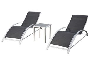 PatioPost Chaise Lounge Outdoor Patio Poolside Textilene Chair 3 Pc Set w/Side Table, Grey 62001 for Sale in Rowland Heights, CA