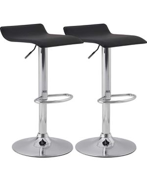 NEW Set of 2 Adjustable Swivel Barstools, PU Leather Kitchen Breakfast Counter Chairs, Black for Sale in San Dimas, CA