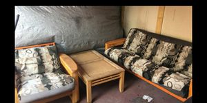 SOLID WOOD FUTON SET RECLINING WITH TABLE HAS WEATHER RESISTANT CUSHIONS for Sale in Miami, FL