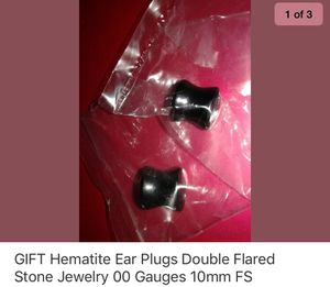 00 gauges hematite ear plugs 10 mm body jewelry stone handmade for Sale for sale  Cary, NC