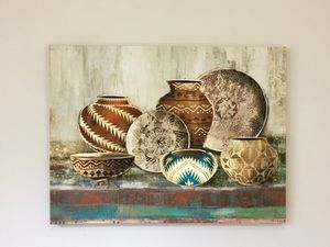 Wall decor canvas art of golden earthy pots for living room bedroom lobby wall or entrance for Sale in Seattle, WA