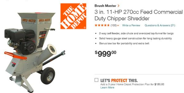 11 HP Brush Master Wood Chipper Shredder for Sale in Summerfield, NC -  OfferUp