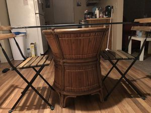 WOODEN WITH GLASS TOP DINING TABLE for Sale in Phoenix, AZ