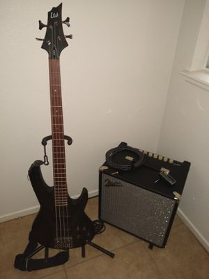 ESP LTD B-204SM Bass Guitar and FENDER Rumble 40 w/ extras for Sale in Las Vegas, NV