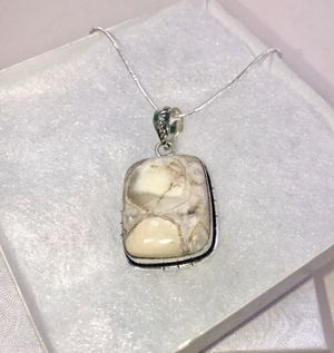 Natural white Jasper large square stone & .925 stamped sterling silver necklace NEW! for Sale in Carrollton, TX