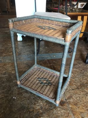Rattan wicker side table plant stand 16 by 24 for Sale in San Diego, CA