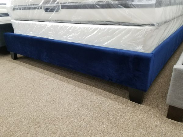Navy blue velvet nailhead trim queen size bed frame only