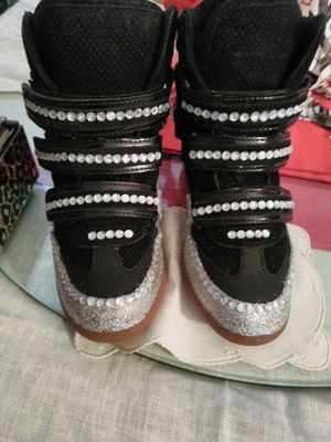Aldo Chism wedges sneakers shoes boots accessorizi with this silver painted/ bling out gems shoes for Sale in Hollywood, FL