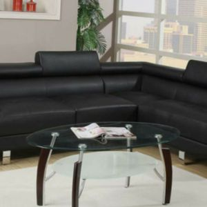 Black leather Sectional Sofa Set for Sale in Los Angeles, CA