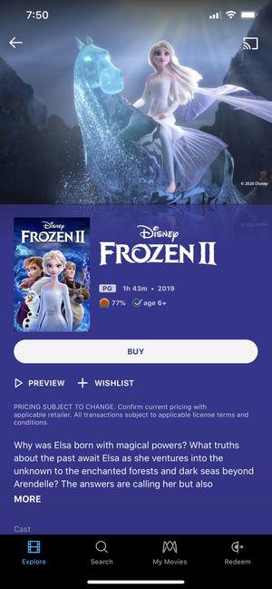 Disney's Frozen 2 HD Digital Copy Movie Code for Sale in Los Angeles, CA