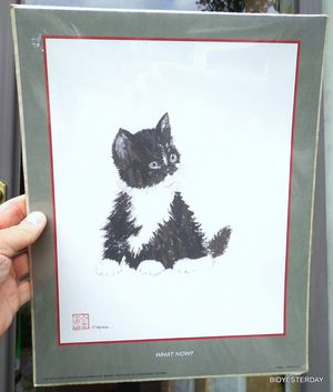 Vintage Susan keane 1985 tuxedo cat kitten litho still in plastic ! for Sale in Saginaw, MI