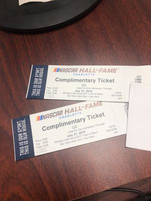 Two NASCAR Hall of Fame tickets for Sale in Charlotte, NC