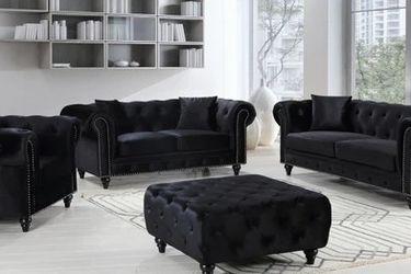 Chesterfield Velvet Black Living Room Set🚚FAST DELIVERY🚚💰 FINANCING AVAILABLE💰 SOFA &LOVESEAT for Sale in Austin,  TX
