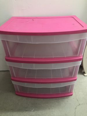 Pink plastic 3 drawer storage container for Sale in Benbrook, TX