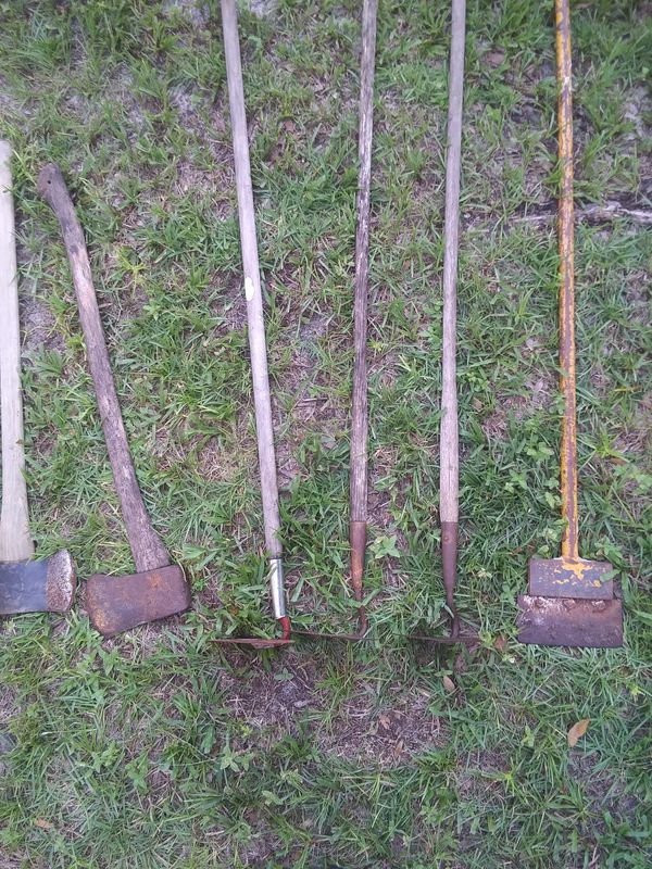 Shovels. Rakes, post diggers axes pitch forks spades etc..