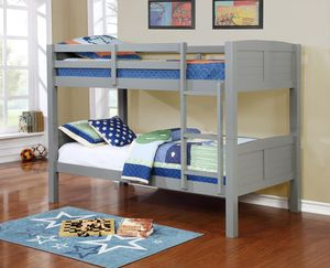 Grey twin over twin bunk bed divisible to 2 beds ( new) for Sale in Hayward, CA