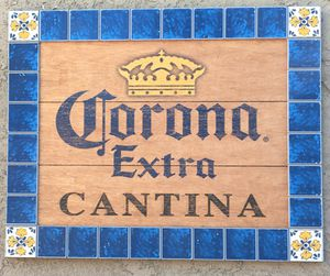 Wood Corona sign with real tile for Sale in La Mirada, CA