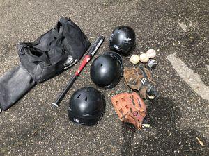 Baseball gear; bat, gloves, helmets, baseballs, & bag for Sale in Southfield, MI